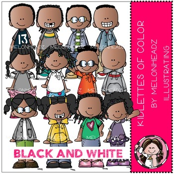 Kidlettes of Color clip art - BLACK AND WHITE- by Melonheadz