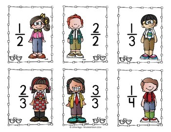 Kidlettes themed Fraction Cards 1/2 through 12/12