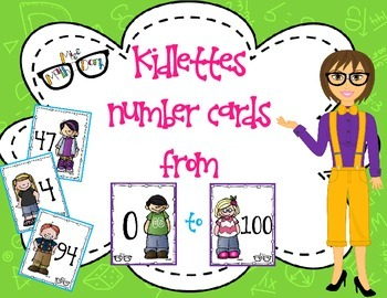 Kidlettes themed Number Cards 0 through 100