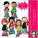Kidlettes with Christmas Stockings clip art - Mini - Melonheadz clipart