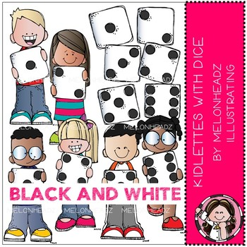 Kidlettes with Dice clip art - BLACK AND WHITE - Melonheadz Clipart