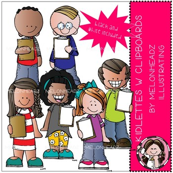 Kidlettes with clipboards clip art - Mini - by Melonheadz