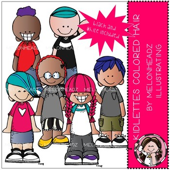 Kidlettes with colored hair clip art - Mini - Melonheadz Clipart