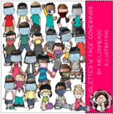 Kidlettes with face coverings clip art - COMBO PACK - by M