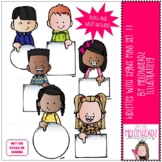 Kidlettes with signs clip art - Mini - Set 11 - by Melonhe