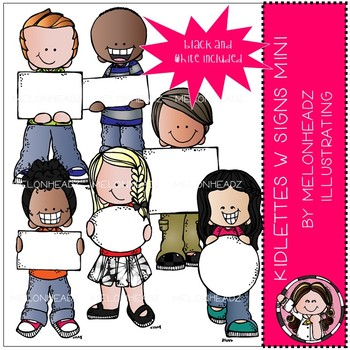 Kidlettes with signs clip art - Mini - by Melonheadz
