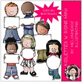 Kidlettes with signs clip art - Mini - Melonheadz Clipart