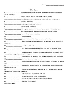 Kidney Disease Quiz or Worksheet for Nutrition and Health Students