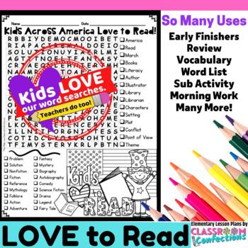 Kids Across America Love to Read: Word Search: Fun for Read Across America Week