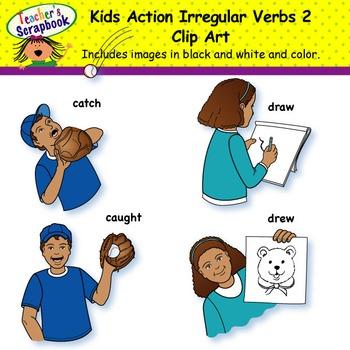 Kids Action Irregular Verbs 2 Clip Art