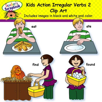 Kids Action Irregular Verbs 2 Clip Art