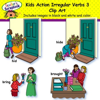 Kids Action Irregular Verbs 3 Clip Art