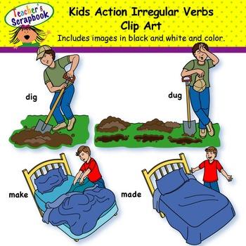 Kids Action Irregular Verbs Clip Art