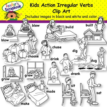 Kids Action Irregular Verbs Clip Art BUNDLE