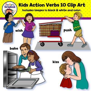 Kids Action Verbs 10 Clip Art