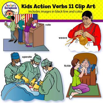 Kids Action Verbs 11 Clip Art