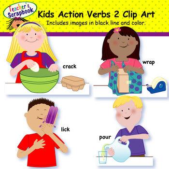 kids action verbs 2 clip art by teachersscrapbook tpt