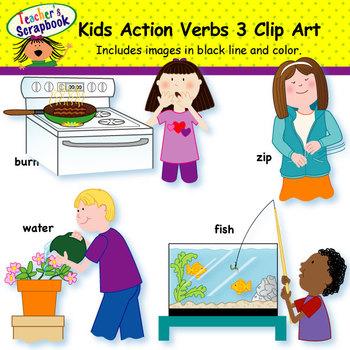 Kids Action Verbs 3 Clip Art