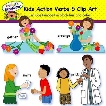 Kids Action Verbs 5 Clip Art