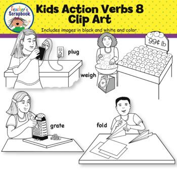 Kids Action Verbs 8 Clip Art