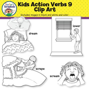 Kids Action Verbs 9 Clip Art