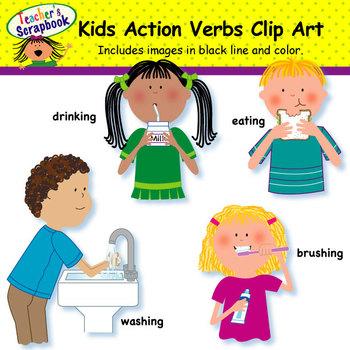 Kids Action Verbs Clip Art