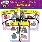 Kids Action Verbs Clip Art BUNDLE 3