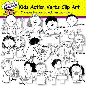 Kids Action Verbs Clip Art BUNDLE