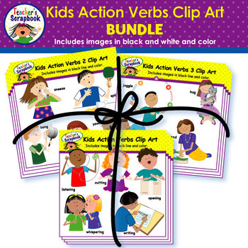 kids action verbs clip art bundle - Action Berbs