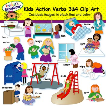 Kids Action Verbs Clip Art Mega Bundle By Teachersscrapbook Tpt