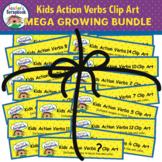 Kids Action Verbs Clip Art MEGA GROWING BUNDLE