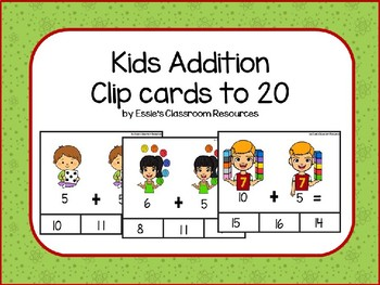Kids Addition Clip Cards to 20