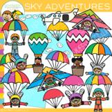 Kids Adventures in the Sky Clip Art
