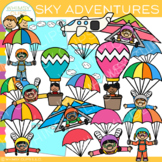 Kids Adventures in the Sky Clip Art {Whimsy Clips Kids In Action Clip Art}