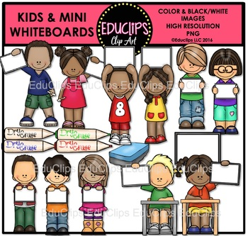 Kids And Mini Whiteboards Clip Art Bundle {Educlips Clipart}