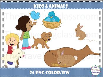 Kids & Animals Clip Art