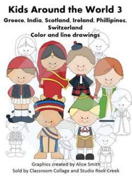 Kids Around the World Set 3 Color and line drawings clip art A. Smith