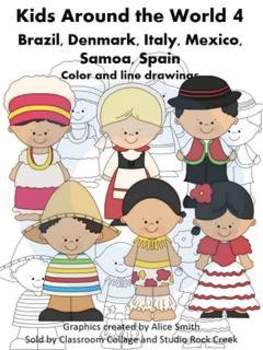 Kids Around the World Set 4 Color and line drawings clip art A. Smith