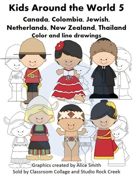 Kids Around the World Set 5 Color and line drawings clip art A. Smith