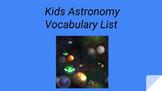 Kids Astronomy Vocabulary List Worksheet