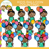 Kids Balloon Counting Clip Art