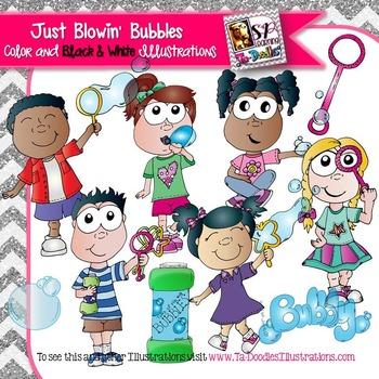 Kids Blowing Bubbles Clip Art