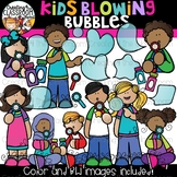 Kids Blowing Bubbles Clipart {Kids Clipart}