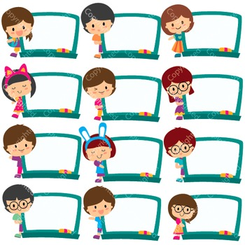Kids Board Frames Digital Clip Art (ED)