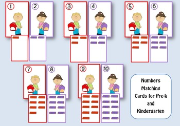 Kids & Books Numbers Matching Game for Pre-k and Kindergarten