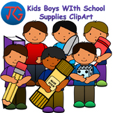Kids Boys with School Supplies ClipArt