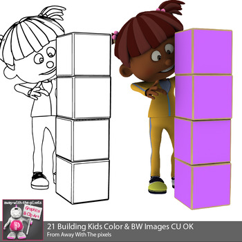 Kids Building Towers With Blocks Clip Art - STEM clipart - 20 Color & 20 B&W