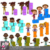 Kids Building Towers With Blocks Clip Art - STEM clipart -
