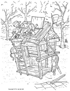 Kids Building a Fort Coloring Page by Tim\'s Printables | TpT