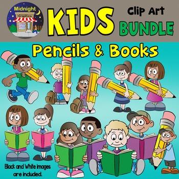 School Kids Bundle - Kids Reading and Kids with Pencils